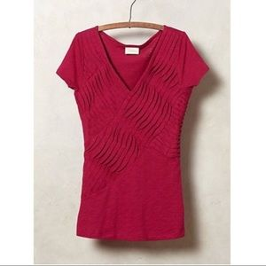 Anthropologie Pleatwave V-Neck Tee Pink
